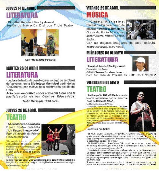 Programa Abril y Mayo Teatro municipal Valverde del Camino 2011